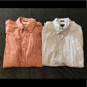 😍 2 Men's J. Crew Dress Shirts - Size L 😍